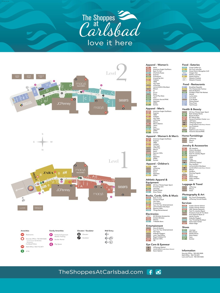 49e6b8d8259ac Center Map | The Shoppes at Carlsbad
