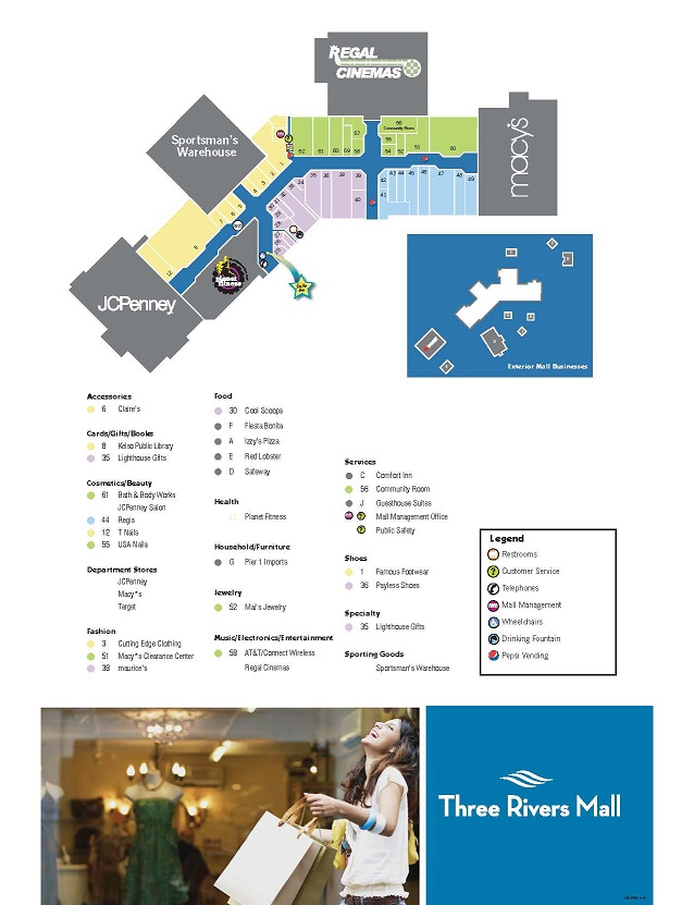 Chesterfield Towne Center Map Mall Map | Three Rivers Mall Chesterfield Towne Center Map